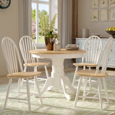 Gennevilliers 5 Piece Dining Set Finish: White / Natural
