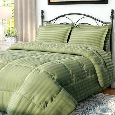 Haliburton 8 Piece Reversible Comforter Set Color: Green, Size: Full/Queen