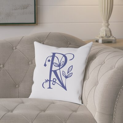 Attina Personalized Floral Initial Throw Pillow Letter: R