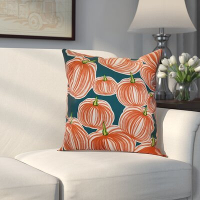 Miller Pumpkins-A-Plenty Geometric Outdoor Throw Pillow Size: 18 H x 18 W x 2 D, Color: Teal