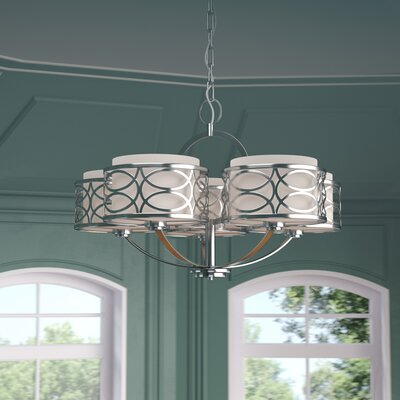 Helina 5-Light Drum Chandelier Finish / Shade Color: Hazel Bronze / Khaki Fabric