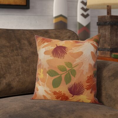 Brookfield Watercolor Leaves Floral Outdoor Throw Pillow Size: 18 H x 18 W x 2 D, Color: Rust
