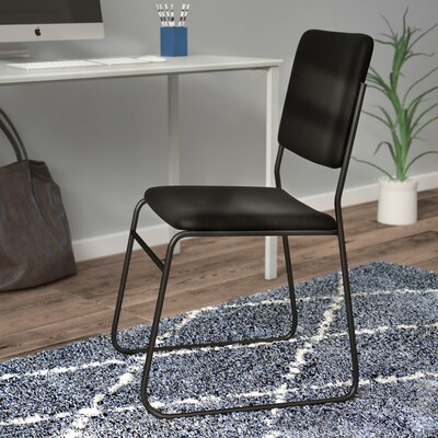 Jackston Metal Stacking Guest Chair (Set of 2) Upholstery / Frame Finish: Black Fabric / Black