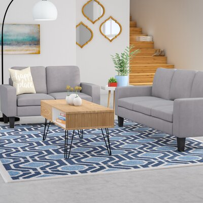 Bibbs 2 Piece Living Room Set Upholstery: Gray