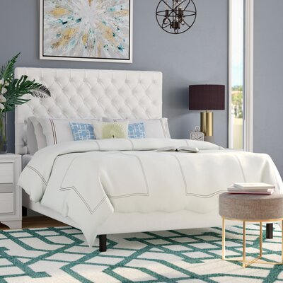 Hartwell Upholstered Panel Bed Size: Queen, Headboard Color: White