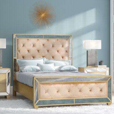 Alasdair Mirrored Tufted Upholstered Platform Bed Size: Queen