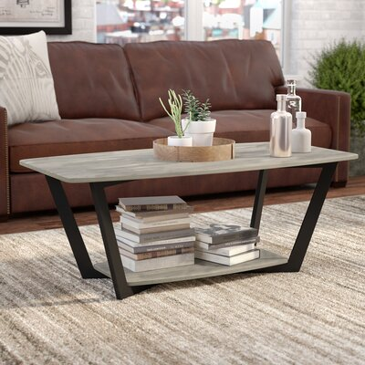 Anissa Coffee Table with Magazine Rack Finish: Gray/Black