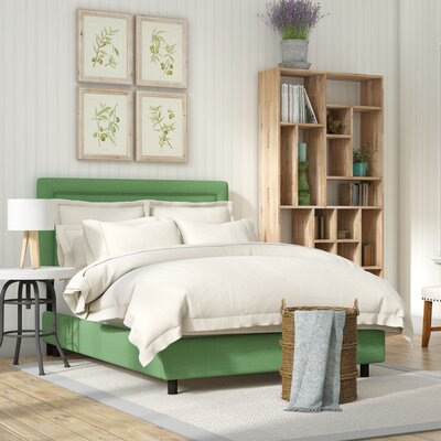 Sandy Border Linen Upholstered Panel Bed Size: Full, Color: Kelly Green