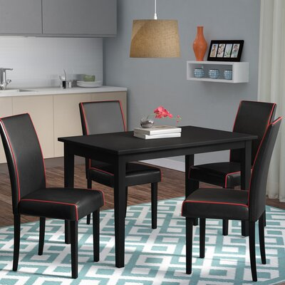 Giovanna 5 Piece Dining Set Upholstery: Black