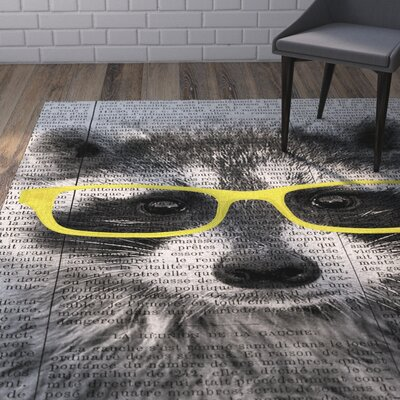 Bakke in Glasses Gray/White Area Rug Rug Size: 5 x 7
