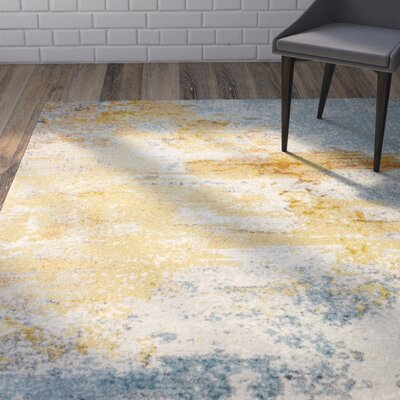 Heilman Blue/Yellow/Ivory Area Rug Rug Size: 76 x 96