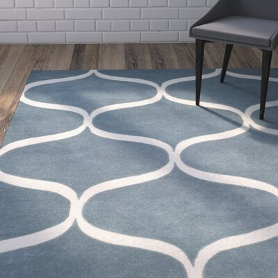 Martins Hand-Tufted Light Blue/Ivory Area Rug Rug Size: Rectangle 26 x 8
