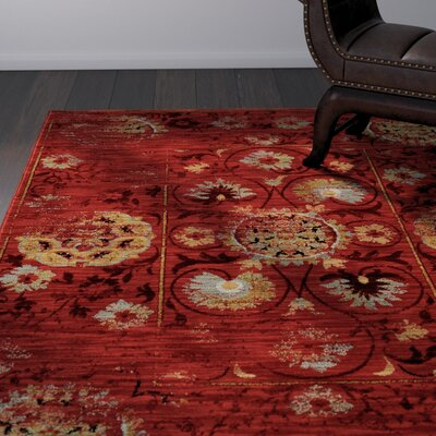Knox Red/Gold Area Rug Rug Size: Runner 2'3