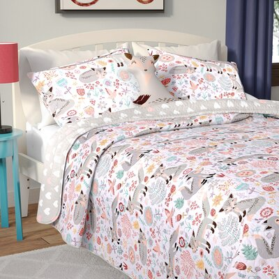 Miley Fox Reversible Quilt Set Size: Full/Queen, Color: Gray/Pink