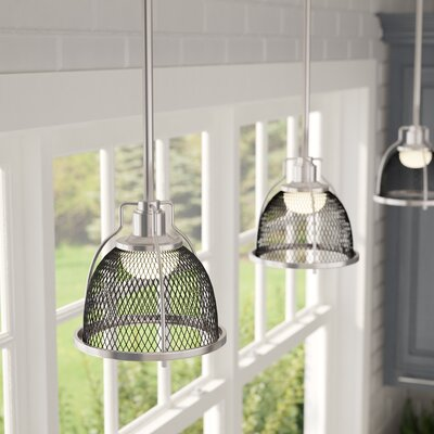 Helene 1-Light LED Mini Pendant Finish: Brushed Nickel/Black