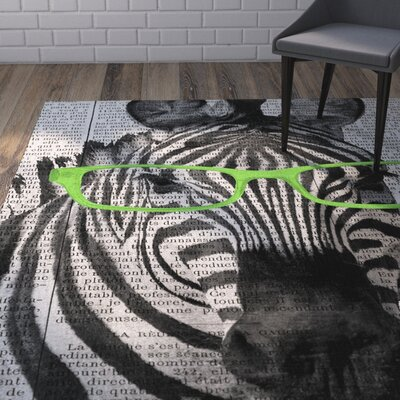 Bakker Zebra in Glasses Area Rug Rug Size: Rectangle 5 x 7