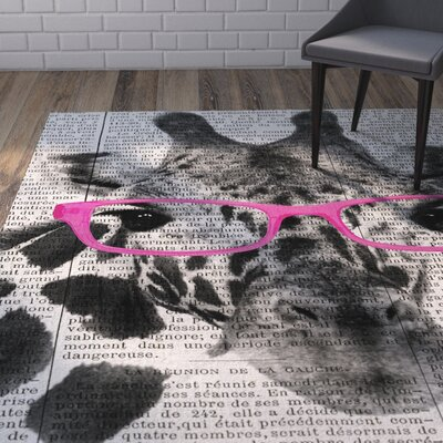 Balcom Giraffe in Glasses Area Rug Rug Size: Rectangle 5 x 7
