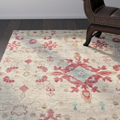 Arron Hand-Knotted Beige Area Rug Rug Size: Rectangle 56 x 86