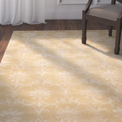 Peterson Hand-Tufted Wool Light Gold Area Rug Rug Size: Rectangle 36 x 56