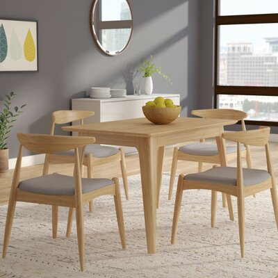 Millie 5 Piece Mid Century Wood Dining Set Upholstery Color: Beige Gray