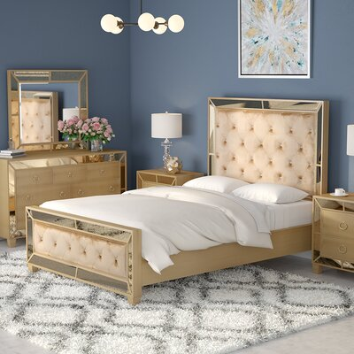 Alasdair Mirrored Tufted Platform 5 Piece Bedroom Set Size: Queen