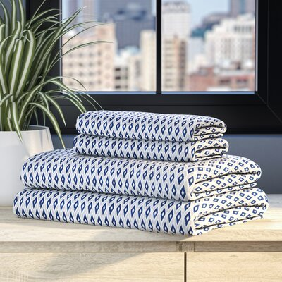 Allegan 200 Thread Count 100% Cotton Sheet Set Size: Full, Color: Navy