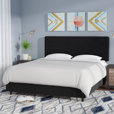 Bugg Velvet Upholstered Panel Bed Size: California King, Color: Black