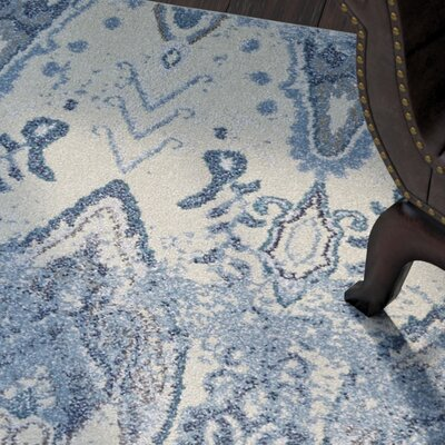 LaTayna Beige/Blue Area Rug Rug Size: Rectangle 53 x 77