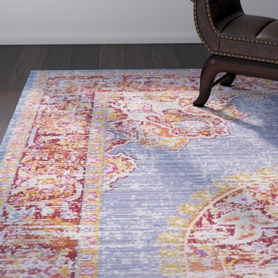 Kahina Vintage Distressed Oriental Blue/Red Area Rug Rug Size: Rectangle 53 x 73