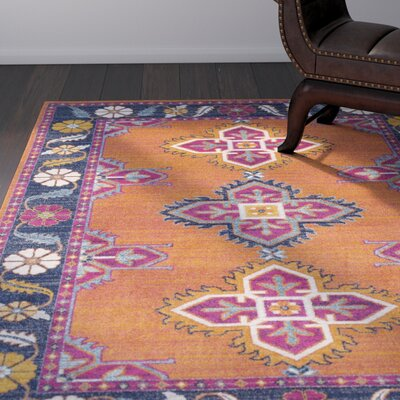 Downs Persian Inspired Blue/Orange Area Rug Rug Size: 53 x 73