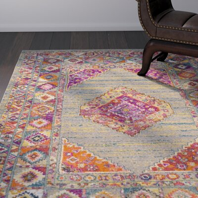 Grieve Light Gray/Fuchsia Area Rug Rug Size: Runner 23 x 6