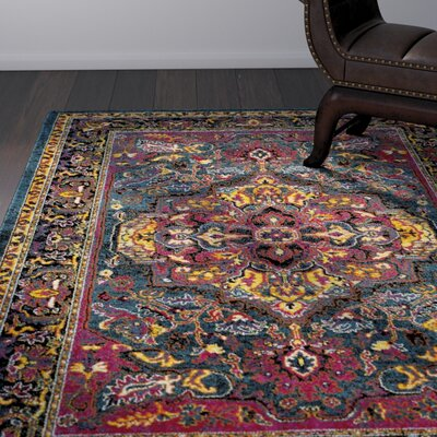 Antoine Light Blue/Fuchsia Area Rug Rug Size: Rectangle 4 x 6