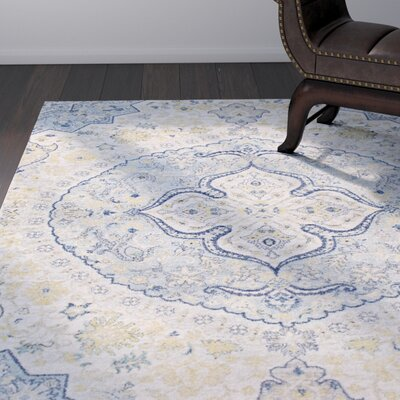 Downs Traditional Vintage Persian Medalion Oriental Blue/Cream Area Rug Rug Size: 710 x 103