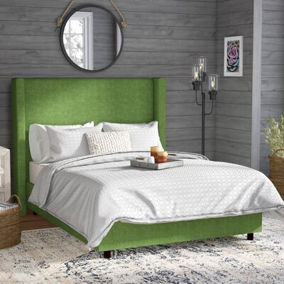 Sanford Linen Upholstered Panel Bed Size: Queen, Color: Kelly Green