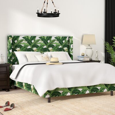 Promfret Swaying Palm Aloe Upholstered Panel Bed Size: Queen