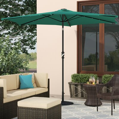 Lindsey 8.10 Solar Lighted Illuminated Umbrella Color: Hunter Green