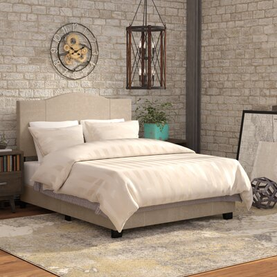 Black Mesa Modified Camel Back Upholstered Panel Bed Size: Queen, Upholstery: Denim Sand