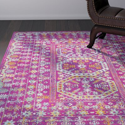 Downs Traditional Vintage Pink Area Rug Rug Size: 53 x 73