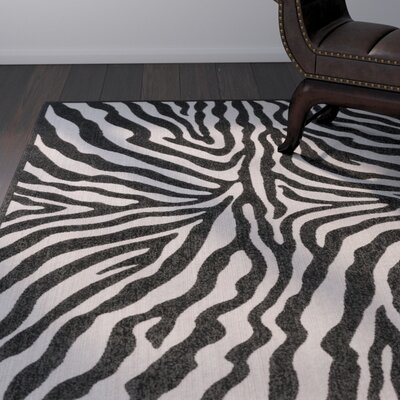 Dalton Black/Ivory Indoor/Outdoor Area Rug Rug Size: 53 x 73