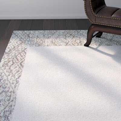Ansell Ivory/Brown Area Rug Rug Size: 53 x 76