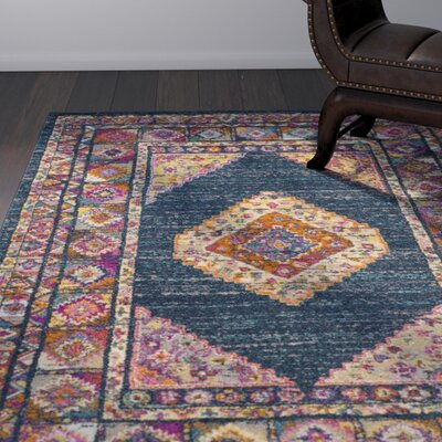 Carrillo Blue/Fuchsia Area Rug Rug Size: 4 x 6