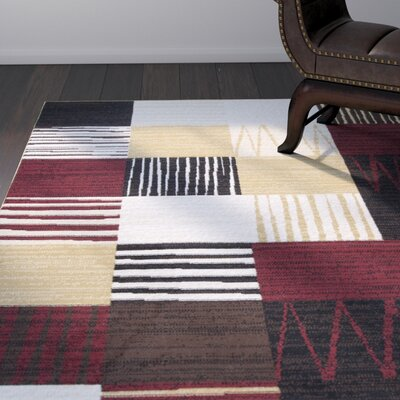 Winslow Black/Red/Gold Area Rug Rug Size: Rectangle 8 x 10