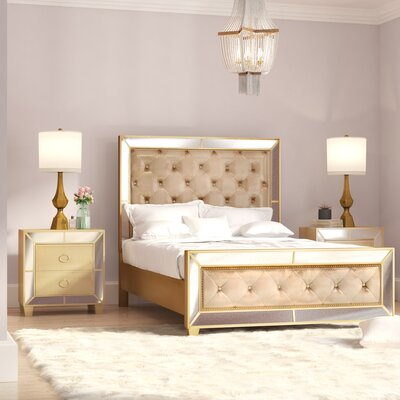 Alasdair Mirrored Tufted Platform 3 Piece Bedroom Set Size: Queen