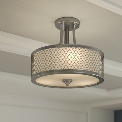 Lofton 3-Light Semi Flush Mount Finish: Brushed Nickel Frosted