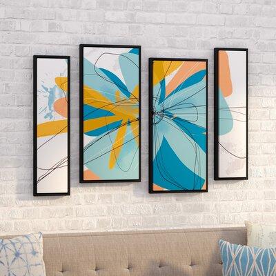 'Orange Tango' by Jan Weiss 4 Piece Framed Graphic Art on Canvas Set Size: 36