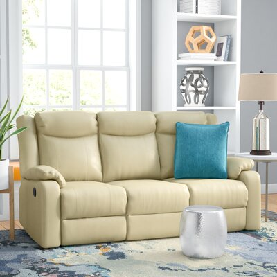 Leo Minor Double Leather Reclining Sofa Upholstery: Putty