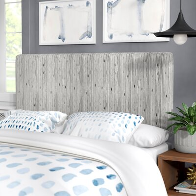Buie Stripe Ink Linen Upholstered Headboard Size: Queen