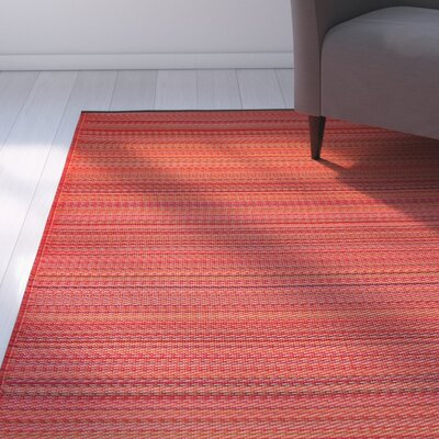 Reva Hand-Woven Red Indoor/Outdoor Area Rug Rug Size: 5 x 8