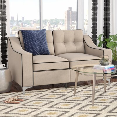 Madilyn Contemporary Plain Loveseat Upholstery: Beige