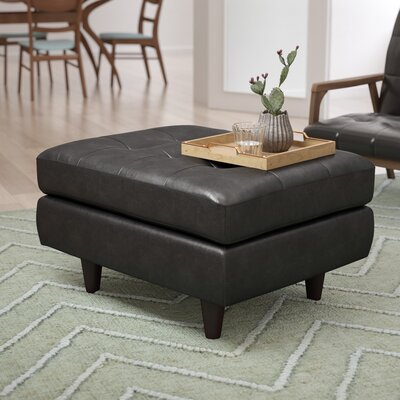 Warren Leather Cocktail Ottoman Upholstery: Black
